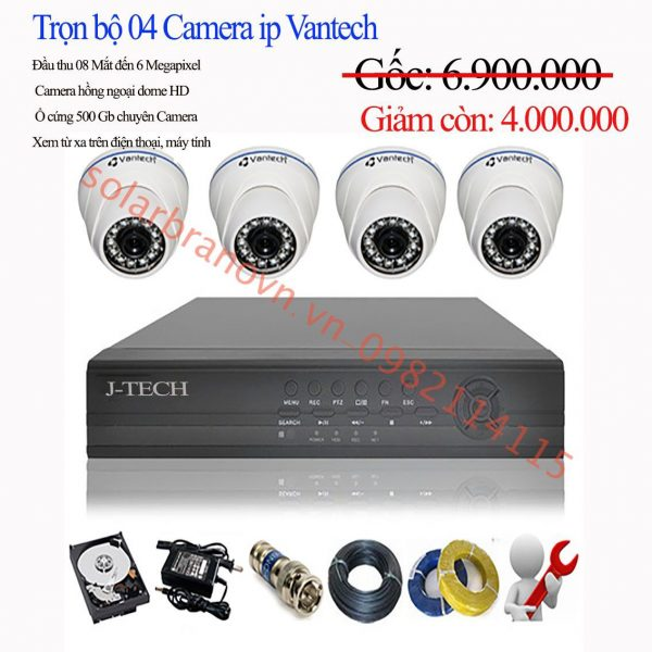 trọn bộ 4 camera Vantech Ip Full HD