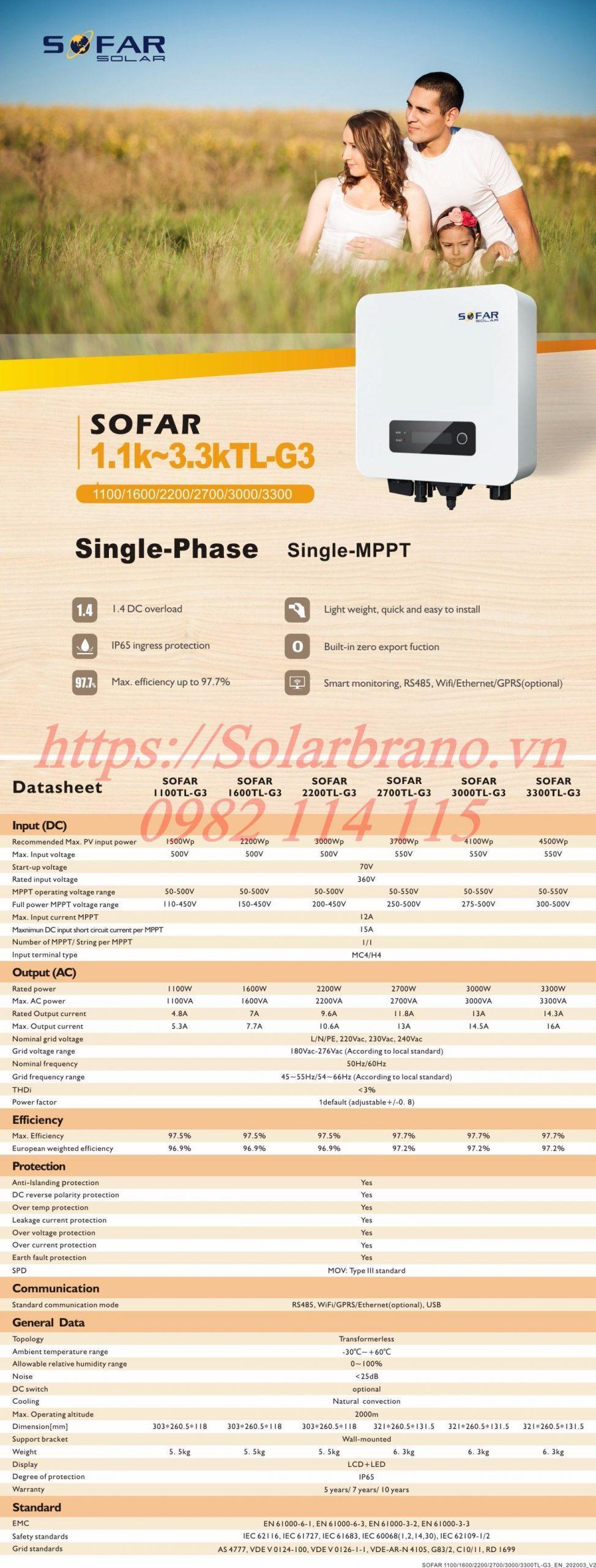 Biến tần Sofar 3300TL-G3 1 Pha