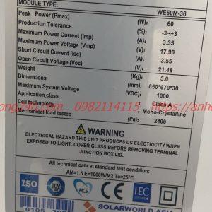 pin năng lượng mặt trời Mono 60w